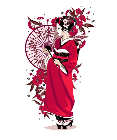 Japanese girl in red traditional clothes with umbrella and flowers.