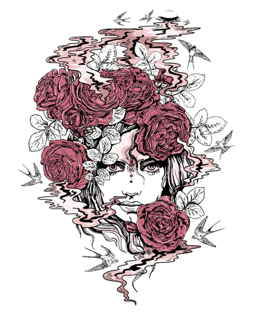 Colorful vector girl in roses illustration.
