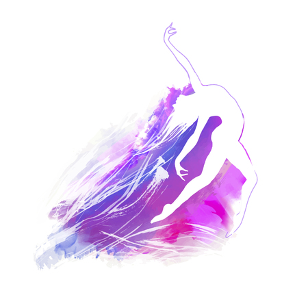 Painted  watercolor background with dancing figure silhouette.