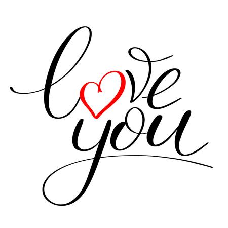 Illustration pour Love you with red heart text, Calligraphic love lettering - image libre de droit