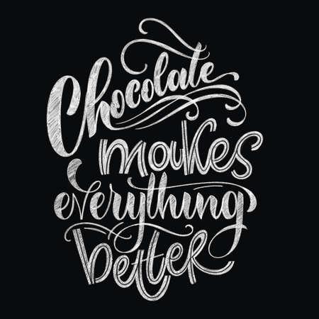 Photo pour Chocolate hand lettering chalk quote. Christmas winter word composition. Design elements for t-shirts, bag, poster, card, sticker and menu - image libre de droit