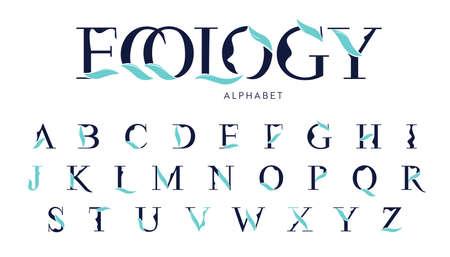 Illustration pour Vector Ecology Alphabet with decorative leafs elements. Modern elegance font with uppercase letters. Vector Illustration. - image libre de droit