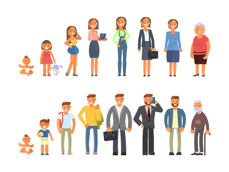 Illustration pour Man and woman characters in different ages in cartoon style. The life cycle including baby, child, teenager, adult and elderly person. Generation of people and stages of growing up. Vector illustration eps10 - image libre de droit