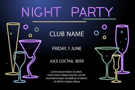 Poster for night cocktail party with wine glasses design.