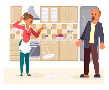The married couple quarrels in the kitchen concept. Wife throws smashes dishes on the floor. Husband is frightened and surprised. Vector illustration eps 10