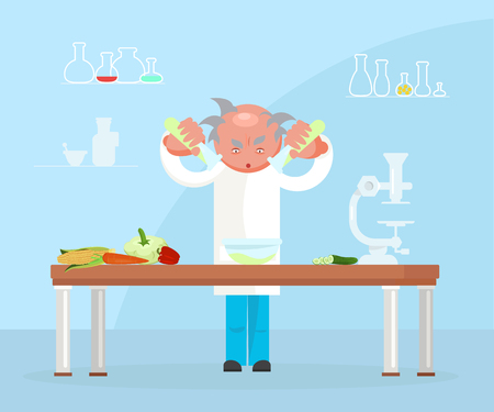 Illustration pour Diet researching concept in flat design. Dietician doctor testing food products in lab. Vector illustration eps 10 - image libre de droit