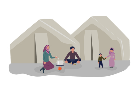 Illustration pour Family cooking lunch in a refugee camp. Migrant get into Europe isolated on white background. Flat Art Vector illustration - image libre de droit