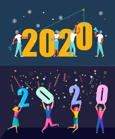 Illustration pour Set of  banners with People, man and woman building a numbers 2020, in flat modern style. preparing to meet the new year. Office Team are preparing to meet the new year. Flat Art Vector illustration - image libre de droit