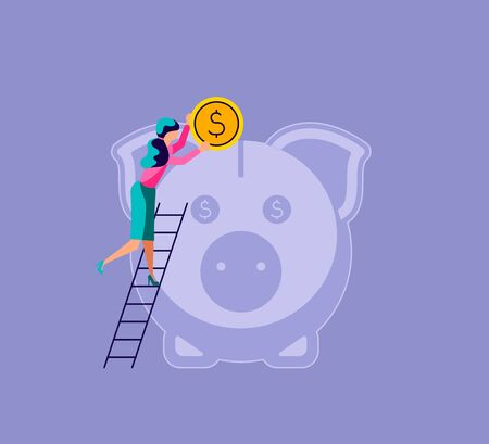 Illustration pour Woman puts a coin in the piggy bank. The metaphor of accumulating personal capital and saving money. Isolated on purple. Flat Art Vector Illustration - image libre de droit