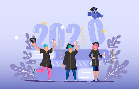 Graduated Concept 2020 Year Tiny Students Wearing Academic Gown And Graduation Cap Celebrate Graduation A Stack Of Textbooks And An Owl In The Background Flat Art Vector Illustration Royalty Free Vector Graphics
