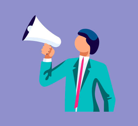 Illustration pour Young business speaks a leadership speech into a shout or a megaphone. The announcement of good news. Isolated on purple. Flat Art Vector Illustration - image libre de droit