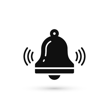 Bell icon vector, Alarm, hand bell sign in trendy flat style isolated on white background.
