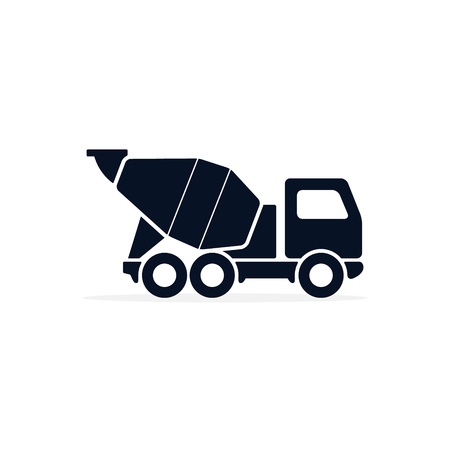 Concrete mixer icon logo flat isolated symbol on white background Vector.