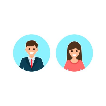 Illustration pour Avatars of a male and a female in business suits. Vector illustration. - image libre de droit
