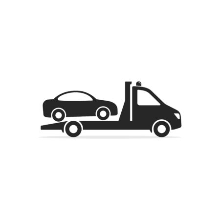 Illustration pour Tow truck icon, Towing truck van with car sign. Vector isolated flat illustration. - image libre de droit