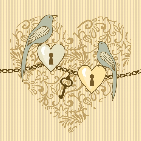 vector illustration of wedding birds and hearts