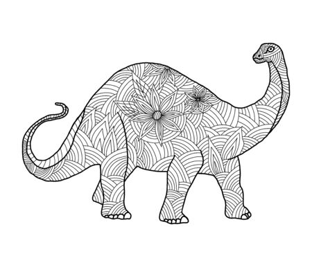 Illustration pour Stylized herbivore dinosaur coloring page diplodocus on an isolated white background. Anitstress and development for children and adults. Print on fabric. Vector stock illustration. - image libre de droit