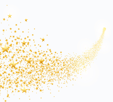Illustration for Vector illustration of abstract falling golden stars, dust - Royalty Free Image