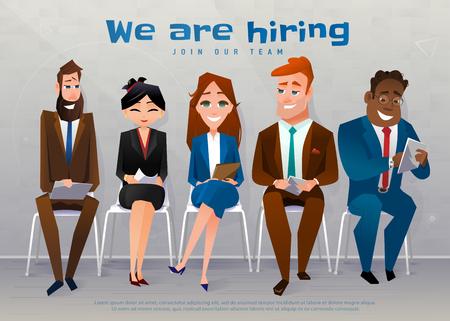 Illustration pour Human resources interview recruitment job concept. We are hiring text - image libre de droit