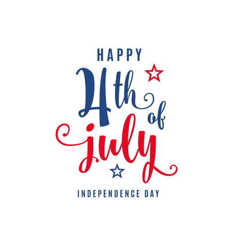 Illustration for 4th of July celebration holiday banner. USA Independence Day poster for greeting, sale concept design. Isolated on white. Vector illustration - Royalty Free Image