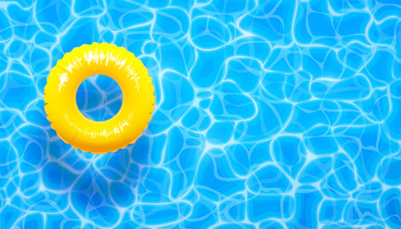 Ilustración de Water pool summer background with yellow pool float ring. Vector illustration of summer blue aqua textured background - Imagen libre de derechos