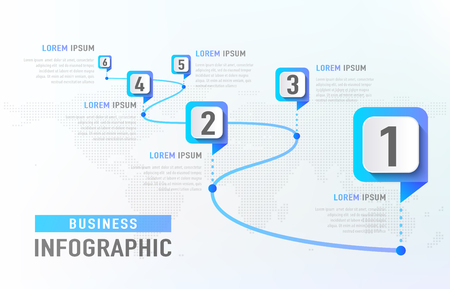 Photo pour Timeline infographic 6 milestone like a road. Business concept infographic template. Vector illustration - image libre de droit