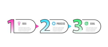 Photo pour Infograph 3 steps elements. Business Infographic template with icons and 3 options. Graphic timeline process. Vector illustration - image libre de droit