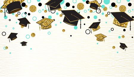 Ilustración de Graduation word with graduate cap, black and gold color, glitter dots on a white background. Congratulation graduates class of. Design for greeting, banner, invitation. Vector illustration. - Imagen libre de derechos