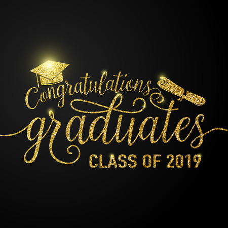 Illustration pour Vector illustration on black graduations background congratulations graduates 2019 class of, glitter, glittering sign for the graduation party. Typography greeting, invitation card with diplomas, hat. - image libre de droit