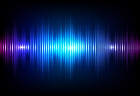 Illustration pour Wave sound neon vector background. Music flow soundwave design, light bright blue elements isolated on dark backdrop. Radio beat frequency consist of lines. - image libre de droit