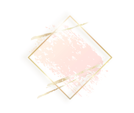 Illustration pour Gold rhombus frame with pastel nude pink texture, shadow, golden brush strokes isolated on white background. Geometric rectangular shape border in golden foil for cosmetics, beauty, makeup template. - image libre de droit
