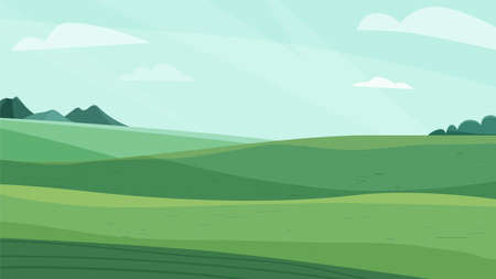 Illustration pour Landscape vector illustration. Green meadow field, hill, plants and blue sky with clouds. Nature spring, summer farm scenery. Countryside for organic production background - image libre de droit