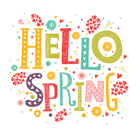 Vector lettering Hello spring with decorative flower elements on white background, hand drawn letters for greeting card, invitation and web designのイラスト素材