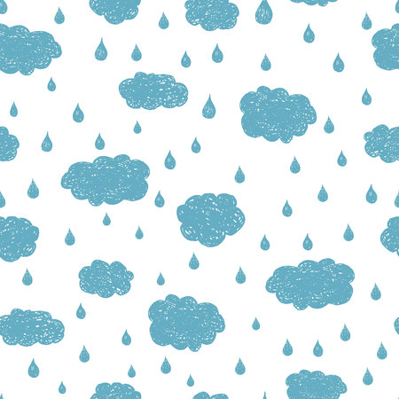 Vector rain background hand drawn, seamless pattern. Blue clouds and raindropsのイラスト素材
