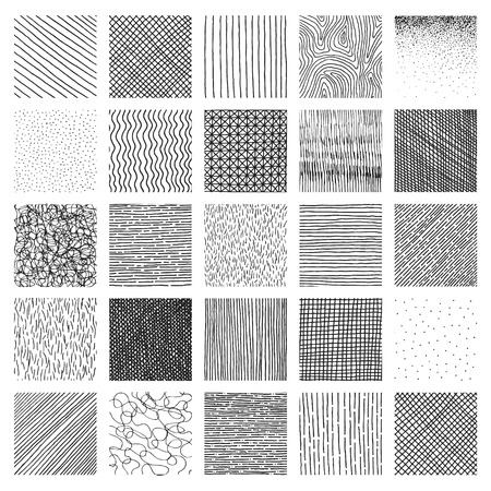 Vector collection ink hand drawn hatch texture, ink lines, points, hatching, strokes and abstract graphic design elements isolated on white background