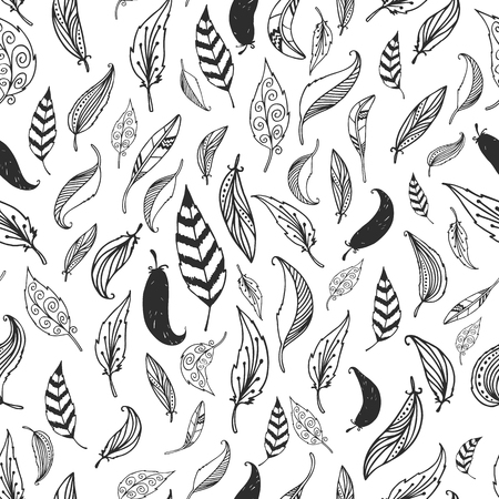 Vector feather background retro pattern etnic doodle collection tribal design. Ink hand d