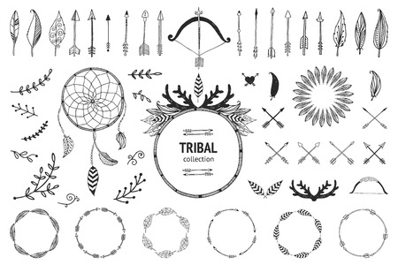 Ilustración de Hand drawn tribal collection with bow and arrows, feathers, dreamcatcher, horns, frame and border, floral elements for design logo, invitation and more. Vector tribal, ethnic, aztec, hipster elements isolated on white background - Imagen libre de derechos