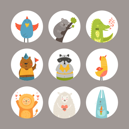 Ilustración de Set of Cartoon animals, cute baby animals. Vector animal - Imagen libre de derechos