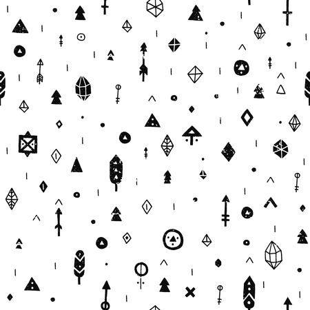 Illustration for Hand drawn tribal background with arrow, feathers and geometric symbols ethnic, aztec style. Tribal pattern - Royalty Free Image