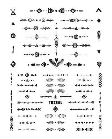 Illustration pour Hand drawn tribal patterns with stroke, line, arrow, boho elements, feathers, geometric symbols rustic style. Flash Tattoo, tribal, boho shapes - image libre de droit