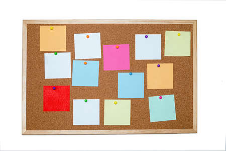 Photo for Concept of notes, goals, memo or action plan. Sticky notes on cork board in workplace office or home. Isolated on a white background. Copy space for text. Close up photo - Royalty Free Image