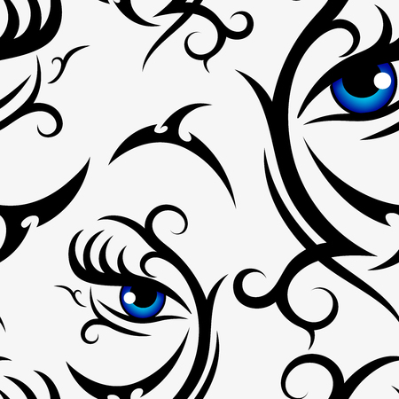Illustration pour Woman blue eyes seamless pattern on white background for fabric, textile, cloth, print, wrapping paper or wallpaper. Vector backdrop illustration - image libre de droit