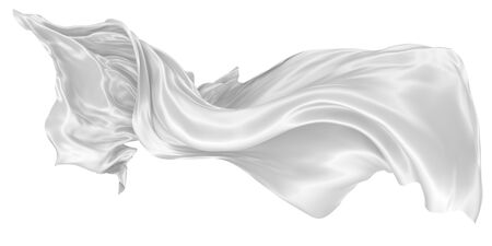 Photo pour Wavy fabric on a white background. Image is isolated. 3D rendering. - image libre de droit