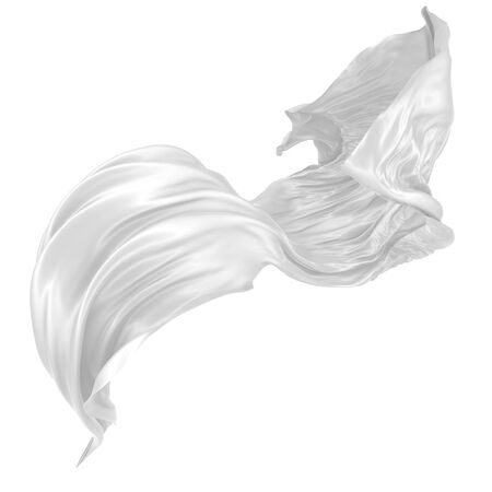 Photo pour Abstract background of white wavy silk or satin. 3d rendering image. Image isolated on white background. - image libre de droit