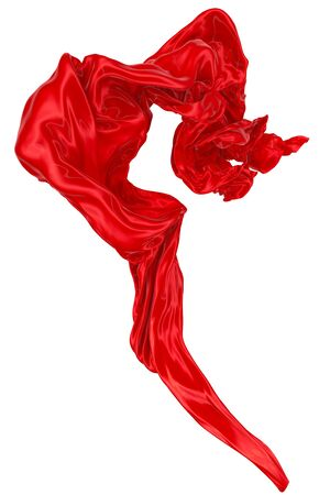 Photo pour Abstract background of red wavy silk or satin. 3d rendering image. Image isolated on white background. - image libre de droit
