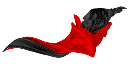 Photo pour Two flaps of silk or satin fabric developing in the wind. Two-color flowing fabric. 3D rendering image. Image on a white background. - image libre de droit