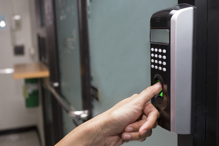 Photo for fingerprint and password lock in a office building - Royalty Free Image