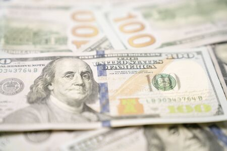 close up US one hundred dollars bills money, business and finance concept