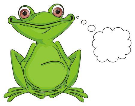 Photo pour green frog sit and think - image libre de droit