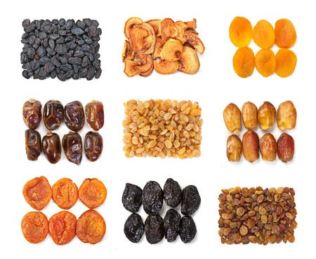 Dry fruit mix set isolated on white background